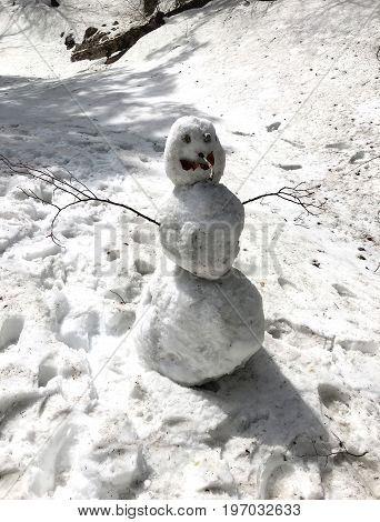 Snowman of the three snowballs one of the symbols of winter