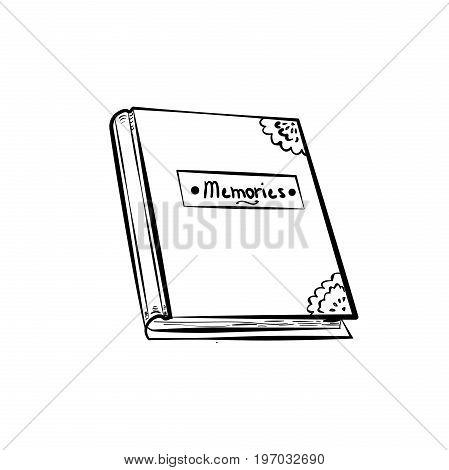 Sketch Photoalbum isolated on white background. Vector illustration, EPS 10