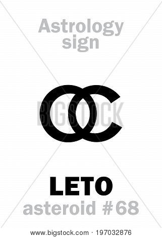 Astrology Alphabet: LETO (Latona), asteroid #68. Hieroglyphics character sign (single symbol).