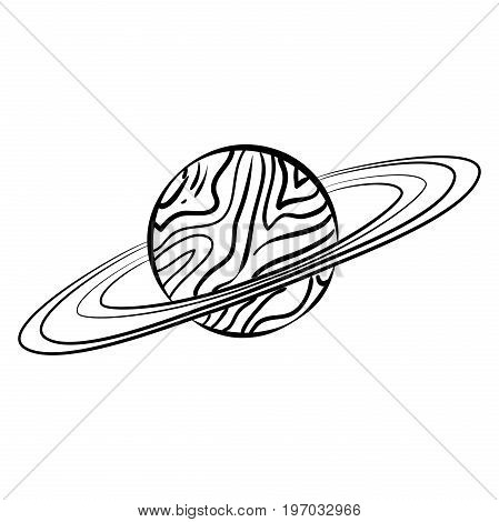 Vector outline Saturn planet with rings on white background.