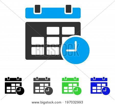 Date And Time flat vector pictograph. Colored date and time gray, black, blue, green pictogram variants. Flat icon style for application design.