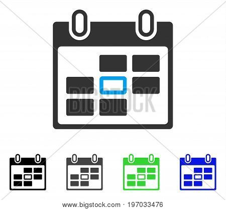 Selected Calendar Day flat vector pictogram. Colored selected calendar day gray, black, blue, green pictogram versions. Flat icon style for web design.