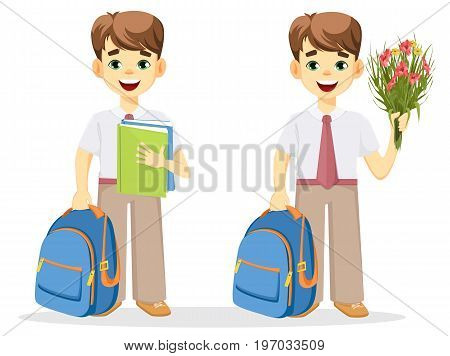 Schoolboy with backpack textbook and bouquet of flowers. Coming back to school. Cute smiling boy. Cartoon character. Vector illustration.