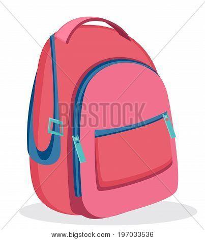 Pink backpack for school. Modern rucksack. Vector illustration isolated on white background