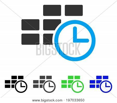 Time Table flat vector icon. Colored time table gray, black, blue, green icon versions. Flat icon style for web design.