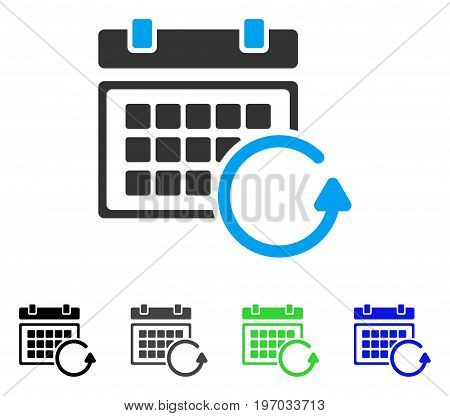 Update Calendar flat vector pictogram. Colored update calendar gray, black, blue, green icon versions. Flat icon style for application design.