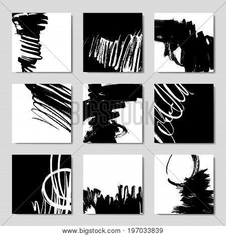 Set of 6 ink brush pattern, modern grunge brush design templates, invitation, banner, art vector cards design in black