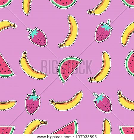 Vector seamless pattern with cute fruit patch badges: banana watermelon and strawberry. Trendy summer collection of stickers pins patches in cartoon comic style.