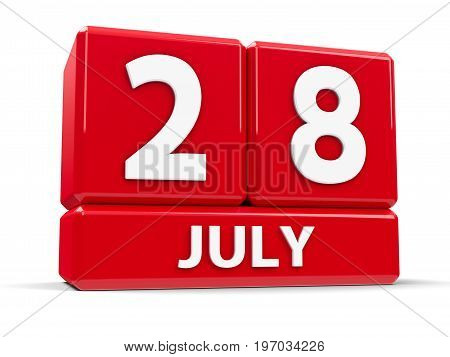 Red cubes - The Twenty Eighth of July - on a white table - World Hepatitis Day three-dimensional rendering 3D illustration