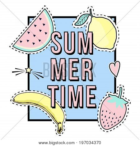Vector Cute Illustration With Summer Time Frame And Fruit Patch Badges: Banana, Watermelon, Lemon, S