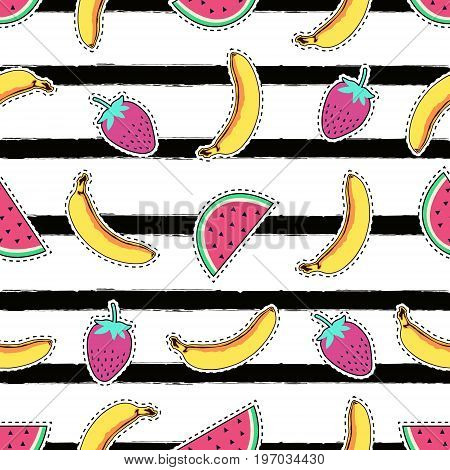 Vector Seamless Pattern With Cute Fruit Patch Badges: Banana, Watermelon And Strawberry On Striped B