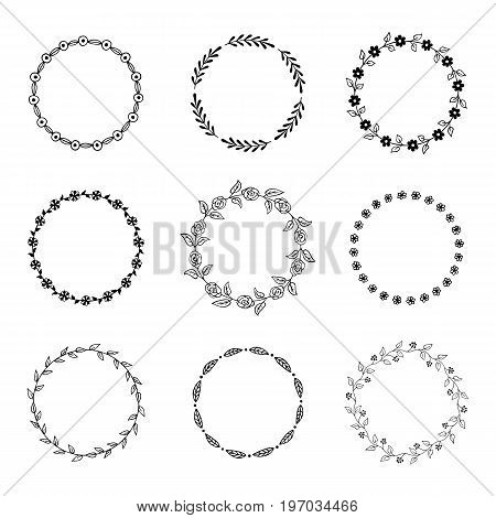 Set of round hand drawn floral frames. Vector illustration.