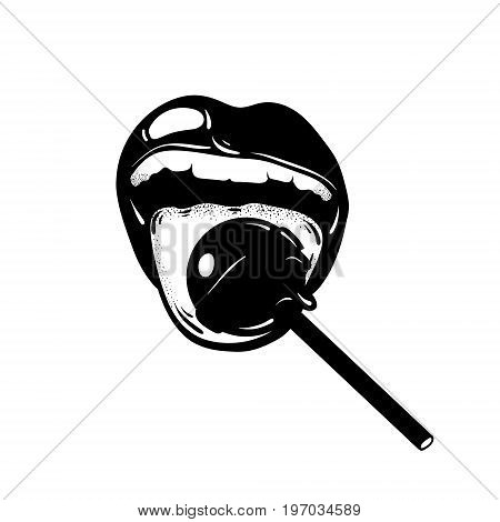 Vector hand drawn illustration of mouth with lollipop. Tattoo artwork made in realistic style. Template for card poster banner print for t-shirt .