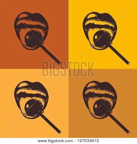 Vector hand drawn illustration of mouth with lollipop. Poster made in pop art style. Template for card banner print for t-shirt .