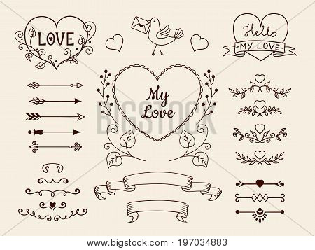 Collection of doodle elements for valentine or wedding design. Hand drawn arrows, hearts, dividers, ribbon banners for design of cards, invitations, etc. Vector illustration.