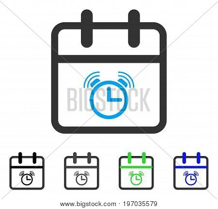 Alarm Day flat vector pictograph. Colored alarm day gray, black, blue, green icon variants. Flat icon style for graphic design.