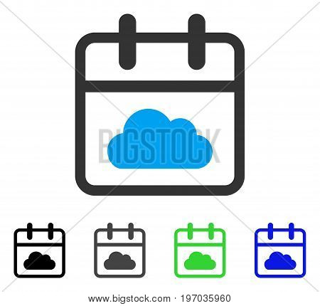 Cloudy Day flat vector icon. Colored cloudy day gray, black, blue, green pictogram variants. Flat icon style for graphic design.