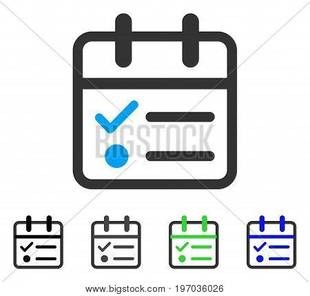 Day Tasklist flat vector pictogram. Colored day tasklist gray, black, blue, green pictogram variants. Flat icon style for graphic design.
