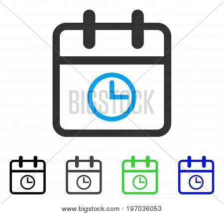 Day Time flat vector illustration. Colored day time gray, black, blue, green icon versions. Flat icon style for web design.