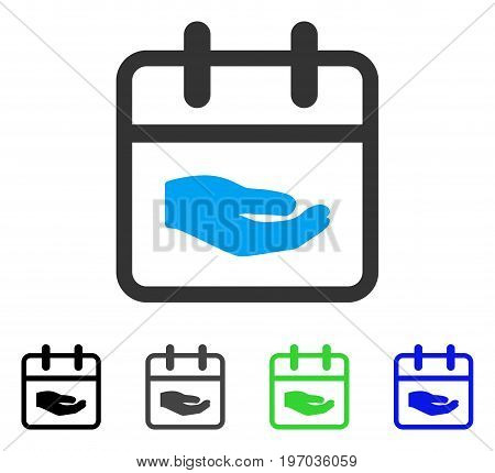 Donation Day flat vector pictograph. Colored donation day gray, black, blue, green icon variants. Flat icon style for application design.
