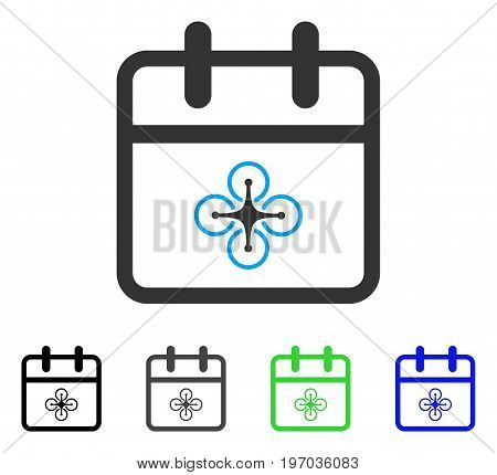Drone Day flat vector pictograph. Colored drone day gray, black, blue, green icon versions. Flat icon style for graphic design.