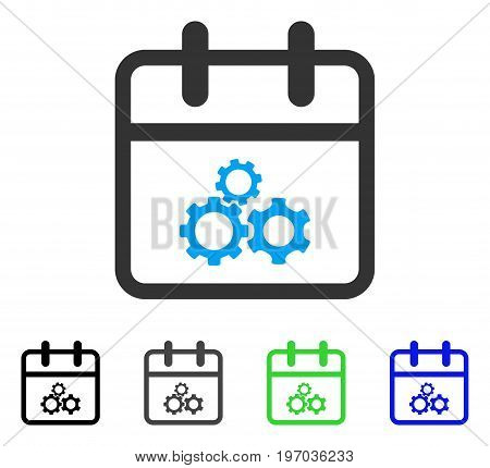 Mechanics Day flat vector pictogram. Colored mechanics day gray, black, blue, green pictogram variants. Flat icon style for graphic design.