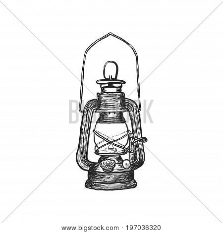 antique oil lanterns. hand drawn. Vector illustration