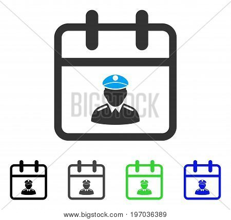 Police Day flat vector pictograph. Colored police day gray, black, blue, green pictogram versions. Flat icon style for application design.