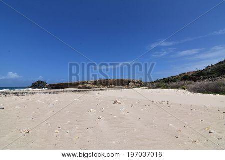Beautiful white sand Andicuri Beach on Aruba's east coast.