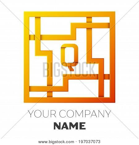 Realistic Letter Q vector logo symbol in the colorful square maze on white background. Shadow Breaks. Vector template for your design