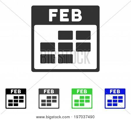 February Calendar Grid flat vector pictogram. Colored february calendar grid gray, black, blue, green pictogram versions. Flat icon style for graphic design.