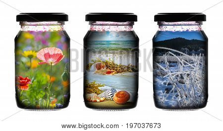 Jar glass with pictures inside it isolated on white background - art concept