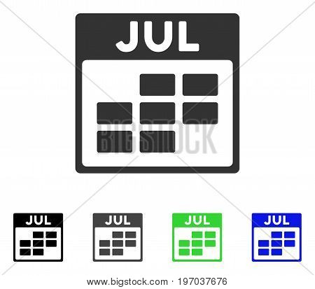 July Calendar Grid flat vector illustration. Colored july calendar grid gray, black, blue, green icon versions. Flat icon style for web design.