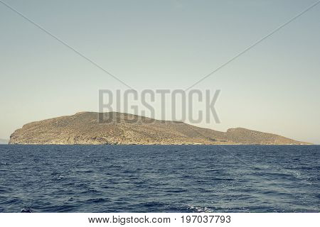 sea, mountains landscape, view from sailboat, Psira island in Crete, Greece