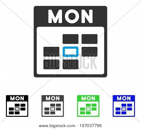 Monday Calendar Grid flat vector pictograph. Colored monday calendar grid gray, black, blue, green icon versions. Flat icon style for web design.