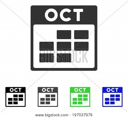 October Calendar Grid flat vector icon. Colored october calendar grid gray, black, blue, green pictogram versions. Flat icon style for web design.