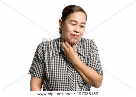 Portrait Of A Mature Woman Having A Neck Pain. Isolated On White Background With Clipping Path