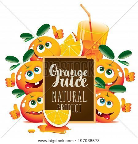 Vector banner for fresh juice with funny oranges and blackboard with inscription Orange juice