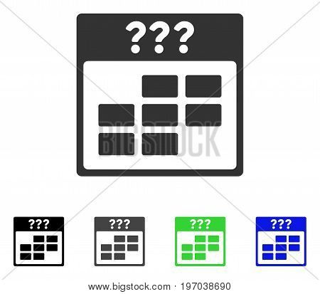 Unknown Month Calendar Grid flat vector pictograph. Colored unknown month calendar grid gray, black, blue, green icon variants. Flat icon style for web design.