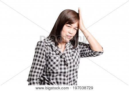 Portrait Of A Mature Woman Having Headache. Isolated On White Background With Copy Space And Clippin