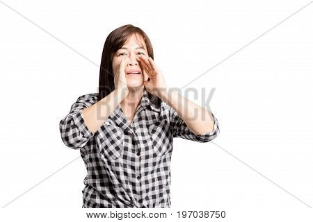 Portrait Of A Mature Woman Smiling And Shout. Isolated On White Background With Copy Space And Clipp