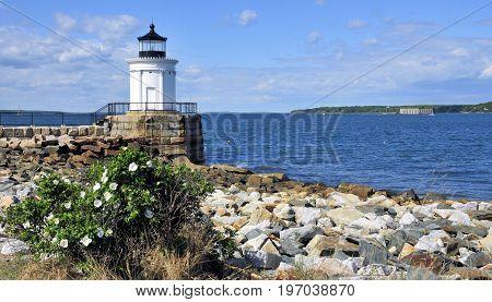 Bug Light located on Casco Bay in Portland, Maine