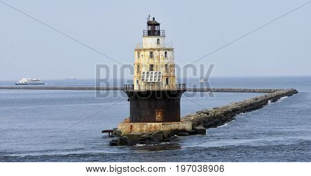 Brandywine Shoal Lighthouse between Delaware and New Jersey
