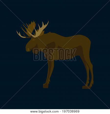 Vector illustration in flat style Elk animal