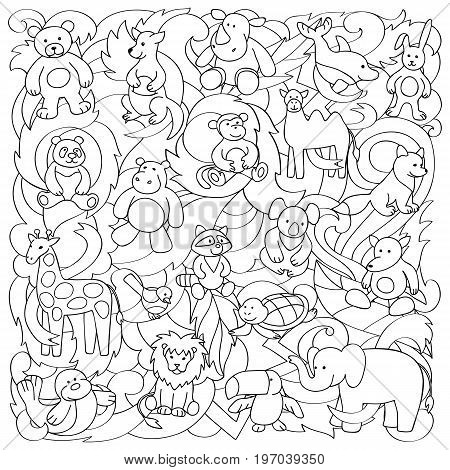 Animal outline toys on abstract wave background. Fun pattern for coloring books, textile prints.