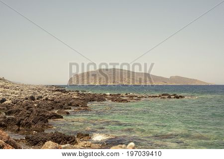 sea, mountains landscape, view from seashore. Psira island in Crete, Greece