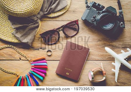 Travel accessories costumes. Passports luggage The cost of travel map prepared for the trip