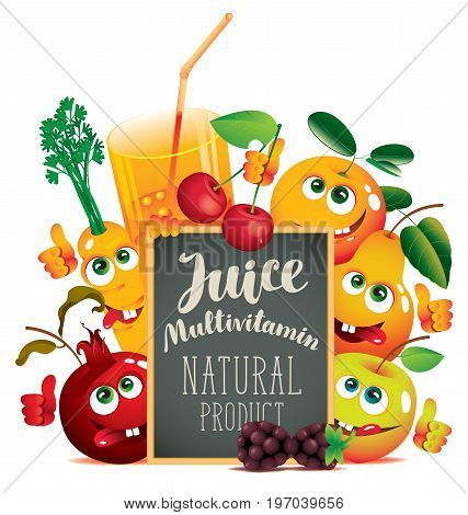 Vector banner for fresh juice with different funny fruits and blackboard with inscription Multivitamin juice