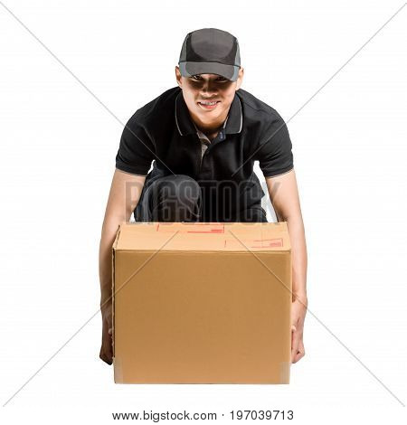 Portrait Of An Asian Delivery Man. Isolated On White Background With Copy Space And Clipping Path