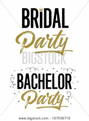 Bridal Party and Bachelor Party Wedding Lettering Phrases Vector Set in gold and black with crown and confetti artwork accents on white background